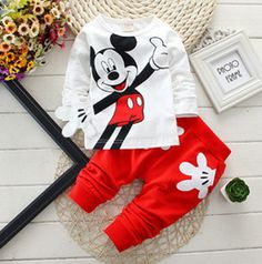 La moda de bebé de dibujos animados ropa Trajes de Niñas niños Minnie Mouse ropa de bebé 100% algodón camisetas+pantalones 2pcs Conjunto de Ropa de Niños