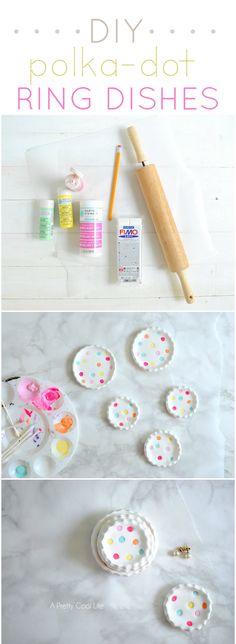 DIY Polka-Dot Ring Dishes  APrettyCoolLife.com