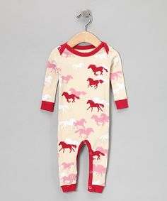 Cream & Pink Horse Playsuit     zulily