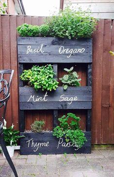 Herb Garden Pallet, Herb Garden Design, Pallets Garden, Palette Herb Garden, Herbs Garden, Fruit Garden, Vertical Pallet Garden, Garden Design Ideas, Garden Shrubs