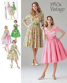 Simplicity - 1459 patroon Vintage jurk met 3 mouw lengte variaties | Naaipatronen.nl | zelfmaakmode patroon online