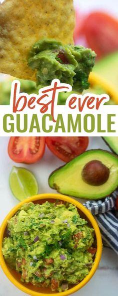 Guacamole Dip, Spicy Guacamole Recipe, Homemade Guacamole, Avocado Recipes, Easy Healthy Recipes, Easy Dinner Recipes, Appetizer Recipes, Easy Meals, Gastronomia