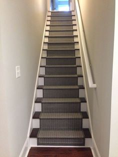 Paint, stain and carpet runner stair case makeover - basement stairs, DIY tips and tutorial