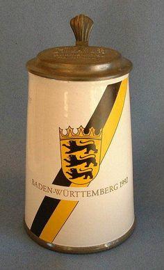 1992 Special German Edition Henninger Brau HB Metal & Porcelain Beer Stein