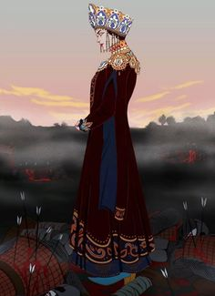 """agadixit:"""" Marya Morevna, the warrior princess from a Russian fairy tale The Death of Koschei the Deathless.Art by me. Russian Folk, Russian Art, Warrior Princess, Character Inspiration, Character Art, Character Concept, Mode Russe, Russian Fashion, Supernatural"""