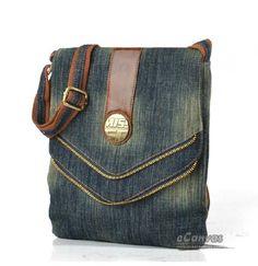 I love the zipper added to the edge - - - blue mini messenger bag