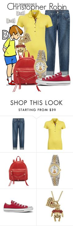 """Christopher Robin"" by leslieakay ❤ liked on Polyvore featuring 7 For All Mankind, Burberry, Botkier, eWatchFactory, Converse, Disney, Marc by Marc Jacobs, disney and disneybound"