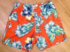 OLD NAVY Mens Board Shorts MEDIUM Floral Hawaiian Swim Trunks #OldNavy #BoardShorts