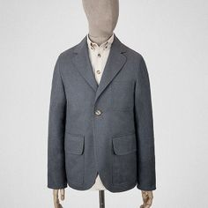 What you've got here is a short, one-buttoned, tailored jacket, made with cloth from the British Isles. Tailored Jacket, Blazer Jacket, Work Jackets, Man Style, Men's Fashion, Grey, Coat, How To Wear, Clothes