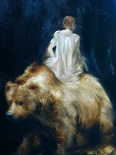 "Reading ""Night Comes to the Cumberlands"" on the Back of the Bear / 2015. Love this painting by Sarah McRae Morton #oilpainting #missmoss"