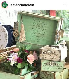 Pallet Boxes, Decopage, Decorative Boxes, Shabby, Diy Crafts, Home Decor, Crate, Crates, Painted Trays