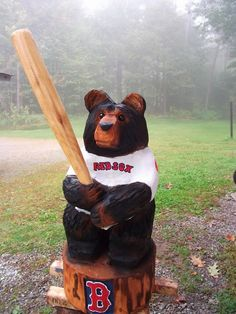 Red Sox Chainsaw Carved Bear by carvnstitch on Etsy, $250.00