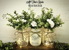 Rustic Planters, Wood Planter Box, Colored Mason Jars, Painted Mason Jars, Farmhouse Table Decor, Rustic Decor, Rustic Table, Farmhouse Style, Lighted Centerpieces