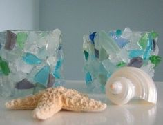 More sea glass candle holders to die for...
