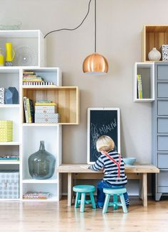 Fun shelving and kids' art table Kids Play Corner, Kids Art Table, Kid Spaces, Living Room Inspiration, Kids Decor, Boy Room, Kids Bedroom, Decoration, Family Room