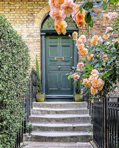 A Lady in London on Instagram: This is a front door with roses in Denmark Hill, London Camberwell London, Secret Places In London, Camberwell College Of Arts, London Tours, London Travel, Green Front Doors, Victorian Terrace House, Beautiful Front Doors, Doors