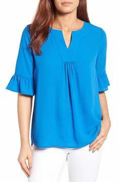 Batik Blazer, Big Girl Fashion, Batik Dress, Blouse And Skirt, Blue Blouse, Dresses Kids Girl, Ruffle Sleeve, Blouse Designs, Tunic Tops