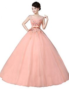 Formal+Evening+Dress+Ball+Gown+Scoop+Floor-length+Tulle+with+Appliques+–+USD+$+370.00