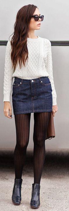 Blue Denim Mini Skirt by Styleheroine