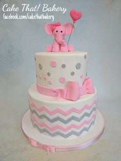 pink and grey elephant baby shower cake, # Chevron cake, #elephant cake