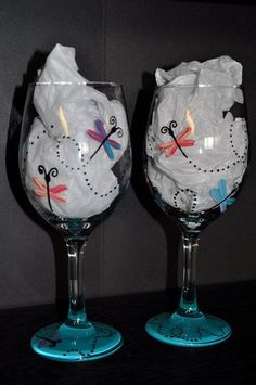 Pair of Hand Painted Dragonfly Wine Glasses by simplyjdesigns by addie
