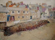 ARTFINDER: Mousehole by Kirstin Handley - This painting was inspired by Mousehole in Cornwall. I created the original painting using acrylic paint. This limited edition giclee print is sold with an...