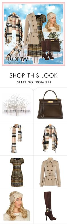 """Romwe contest"" by dinka1-749 ❤ liked on Polyvore featuring Home Decorators Collection, Hermès, Oscar de la Renta, Burberry and GUESS"