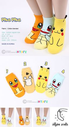 $10.90 & FREE Shipping Pack of 4Pairs #Pokemon # socks #pikachu #pikachu #charmander #squirtle #psyduck #funny #fashion