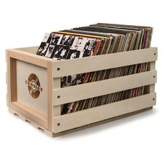 The Crosley Record Storage Crate is the best way to store your vinyl collection. This wooden crate has a retro look and classic Crosley logo burned. Lp Storage, Vinyl Storage, Crate Storage, Storage Boxes, Storage Containers, Bathroom Storage, Crate Shelves, Storage Organization, Storage Ideas