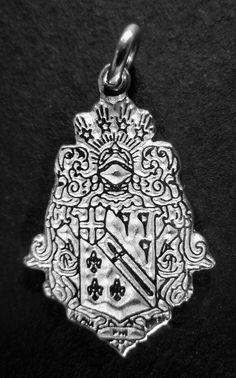 Alpha Phi Omega, ΑΦΩ,  .925 Sterling Silver Crest Large Charm by McCartney #McCartney #Traditional