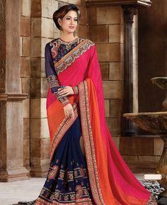 Buy Elegant Multiple Chiffon Saree online at  https://www.a1designerwear.com/elegant-multiple-chiffon-sarees  Price: $98.38 USD