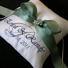 Wedding Ring Pillow with Custom Embroidery.