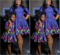 2019 Lovely Ankara for Mum and kids Ankara Styles For Kids, African Dresses For Kids, Girls Dresses, Mother Daughter Matching Outfits, Mother Daughter Fashion, African Fashion Ankara, African Print Fashion, African Attire, African Wear