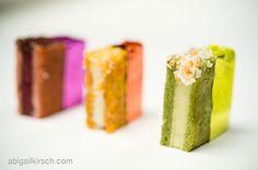 Colorful Mini Ice Cream Sandwiches (pistachio coconut pineapple, carrot butter pecan caramel and raspberry black currant ganache)