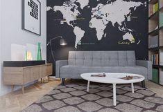 Это исследование имеет поразительное стены фреску в мире, где личные фотографии с поездки за границу могут быть отображены рядом с направлений, на котором они были приняты.  Небольшой холл был введен в пространство, чтобы обеспечить возможность отдохнуть от компьютеров, не выходя из тихое святилище рабочем помещении.