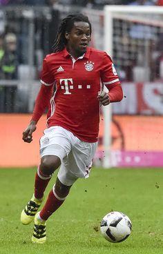 Bayern Munich's Portuguese midfielder Renato Sanches runs with the ball during…