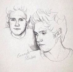 One Direction Fan Art, One Direction Drawings, Pencil Art Drawings, Drawing Sketches, Drawing Drawing, Amazing Drawings, Easy Drawings, Niall Horan, Desenhos One Direction
