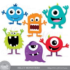 SILLY MONSTERS Clip Art: Digital Monster Clipart, Instant Download, MONSTER Clipart Vector Art Party Graphics by MNINEDESIGNS on Etsy https://www.etsy.com/listing/202440220/silly-monsters-clip-art-digital-monster