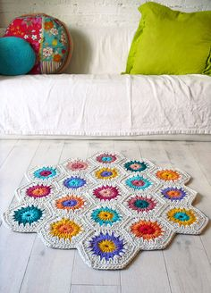 Rug Crochet  hexagon square by lacasadecoto on Etsy, €68.00