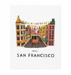 Rifle Paper Co San Francisco illustrated print, on natural white woven paper. Ships in a flat protective sleeve. Illustrated art print created from an original Gouache painting by Anna Bond. Designed in the USA by Rifle Paper Co. Anna Bond, San Fransisco, Tattoo Studio, San Francisco Art, Poster S, Rifle Paper Co, Gouache Painting, Diy Painting, City Art