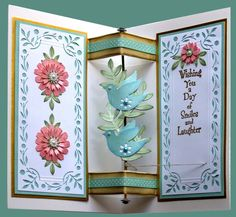 4/17/2012; mmGems on the Gina K Gallery; Bird Twirl card with link to tutorial at Splitcoaststampers