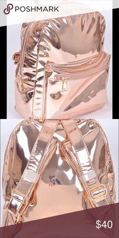 Beautiful fashion mirror like metallic backpack Beautiful rose gold metallic backpack Pink Haley Bags Backpacks