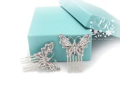 love these butterflies! Wedding Hair Comb Rhinestone butterfly style by PureRainDesigns, $24.00