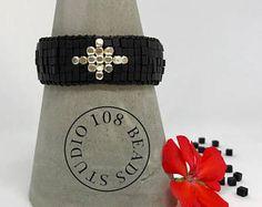 Black beaded bracelet, Stacking bracelet, Boho Bracelet, Gift Ideas, Black Jewelry, Silver beads, Cross Bracelet, Black Bracelet, Beadwork - Edit Listing - Etsy