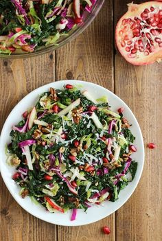 The Ultimate Fall Salad- kale, brussel sprouts, red cabbage, apples and pomegranate seeds come together for one amazing salad! #cleaneating #detox #autumn