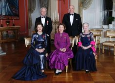 (row behind, L-R) King Carl Gustaf of Sweden and King Harald of Norway and, (sitting, L-R) Queen Silvia of Sweden, Queen Sonja of Norway and Queen Margrethe of Denmark on the occasion of the 25th anniversary of King Harald's ascension to the throne on January 17, 2016 at the Royal Castle in Oslo.