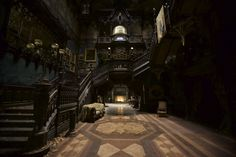 """Crimson Peak"" - Set design by Guillermo del Toro and Tom Sanders, Photographs by Kerry Hayes for Architectural Digest Architectural Digest, Gothic Interior, Interior And Exterior, Interior Design, Hall Interior, Thomas Sanders, Gothic House, Victorian Gothic, Gothic Architecture"