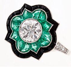 Keshett Diamond, Emerald and Onyx Ring