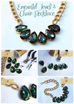 Favorite DIY - Emerald Jewel and Chain Necklace - Best DIY Blogs of the Blogosphere