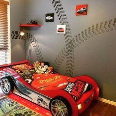 Cars Bedroom Decor Awesome Racing theme Room for Our 3 Year Old Boy Room Bedroom Racing theme Carbed Car Bed Boy Car Room, Boys Car Bedroom, Race Car Room, Boys Bedroom Decor, Car Bedroom Ideas For Boys, Race Car Bed, 3 Year Old Bedroom Boy, Racing Bedroom, Baby Bedroom
